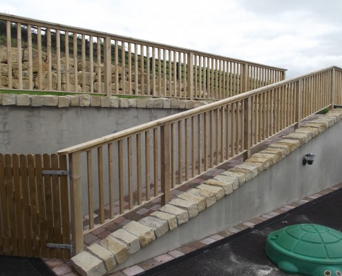 Timber, railing, gates, paved, ramp, access